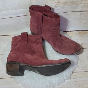 Lucky Brand leather slip on ankle heeled boots 7.5